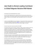 Asia Pacific to Remain Leading Contributor to Global Magneto Resistive RAM