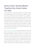 Contact Center Solutions Market