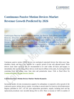 Continuous Passive Motion Devices Market Revenue Growth Predicted by 2026