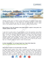 Orthopedic Prosthetic Devices MarketOrthopedic Prosthetic Devices Market Prophesied to Grow at a Faster Pace by 2026
