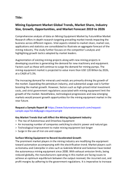 Mining Equipment Market Global Trends, Market Share, Industry Size, Growth, Opportunities, and Market Forecast 2019 to 2026