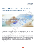 Cholesterol Testing Services Market Shows Expected Growth from 2018-2026