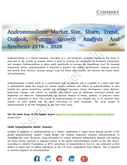 Androstenedione Market to Witness Moderate Growth Rate to 2026