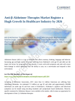 Anti-β-Alzheimer Therapies Market Scrutinized in New Research 2018-2026