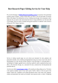 Best Research paper Editing Service for Your Help