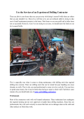 Use The Services Of An Experienced Drilling Contractor