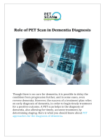 Role of PET Scan in Dementia Diagnosis
