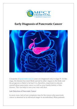 Early Diagnosis of Pancreatic Cancer