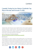 Cannabis Testing Services Market: Worldwide Top Players Revenue and Forecasts To 2026