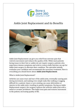 Ankle Joint Replacement and its Benefits
