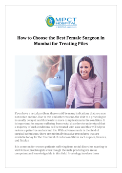 How to Choose the Best Female Surgeon in Mumbai for Treating Piles
