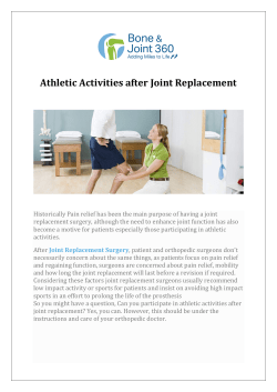 Athletic Activities after Joint Replacement